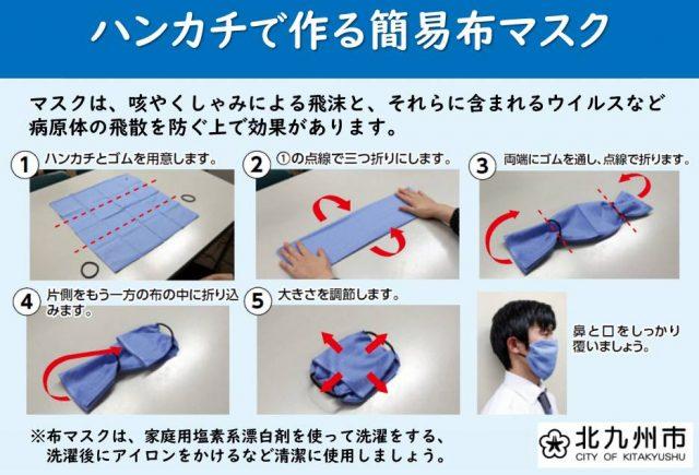 ハンカチとゴムで作る簡易布マスク